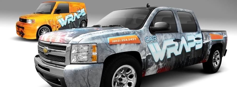 Truck with vehicle wrap in Phoenix, AZ.